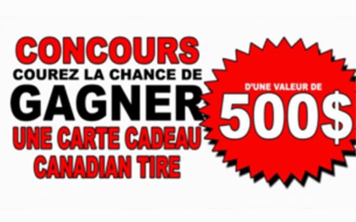 Carte-cadeau Canadian Tire de 500 $