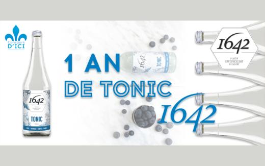 Un an d'eau de tonique de la compagnie montréalaise 1642