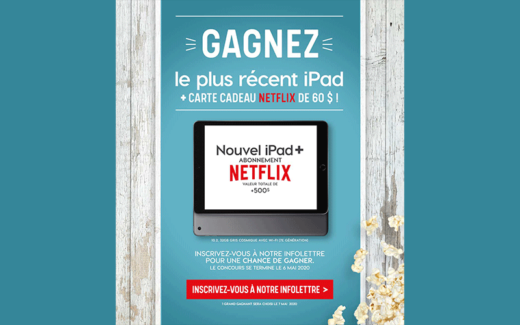 Un iPad Apple et une carte cadeau Netflix