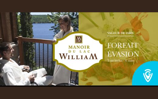 Forfait détente de 4 nuits au Manoir du Lac William