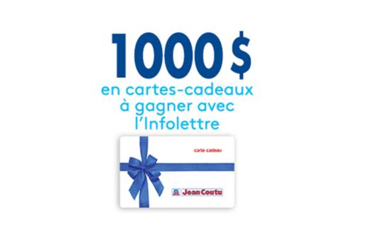1 000 $ en cartes-cadeaux Jean Coutu