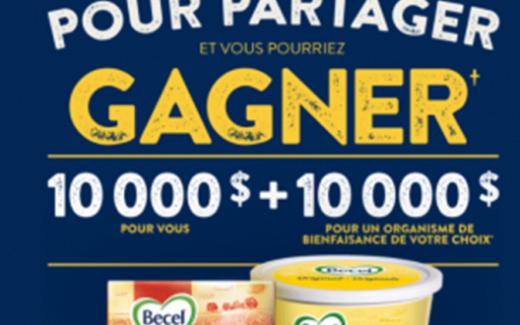 10 000$ pour vous + 10 000$ pour un organisme de bienfaisance