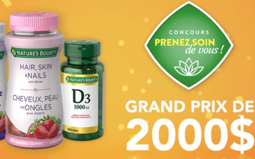 2000 $ incluant un ensemble de produits Nature's Bounty