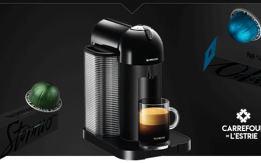 Une machine Nespresso Vertuo à tête ronde noire