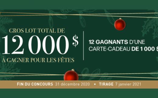 12 cartes-cadeau Linen Chest de 1000$ chacune