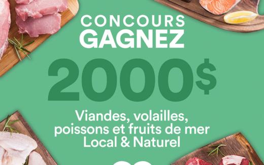 2000$ de viandes, volailles, poissons et fruits de mer