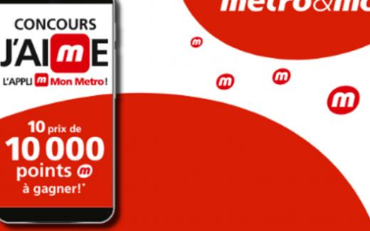 10 lots de 1000 points Metro de 80 $