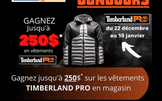 250$ sur les vêtements TIMBERLAND PRO