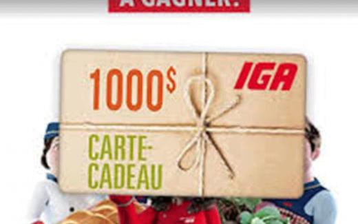 4 Cartes-cadeaux IGA de 1000$