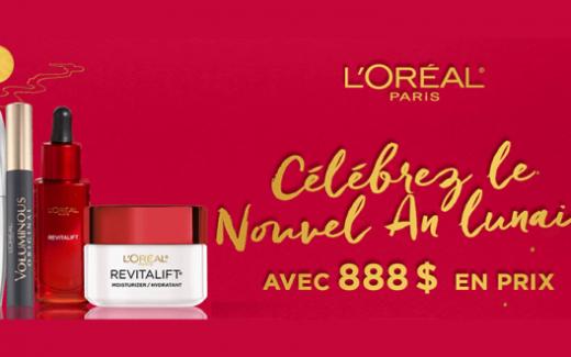 888$ de cadeaux L'Oréal
