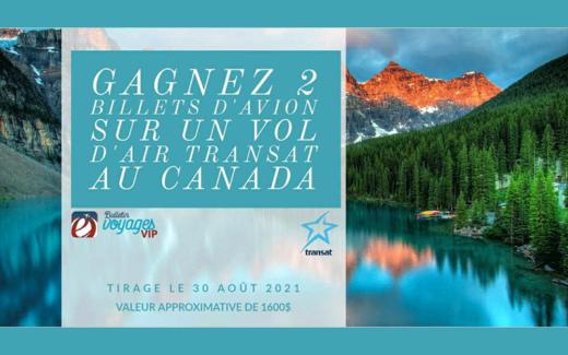 2 billets d'avion sur un vol Air Transat au Canada