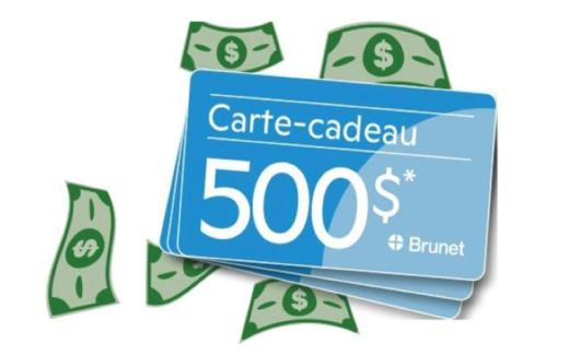 3 cartes-cadeaux Brunet de 500$