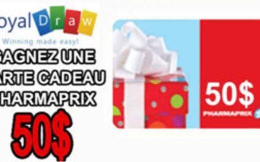 Carte cadeau Pharmaprix de 50$
