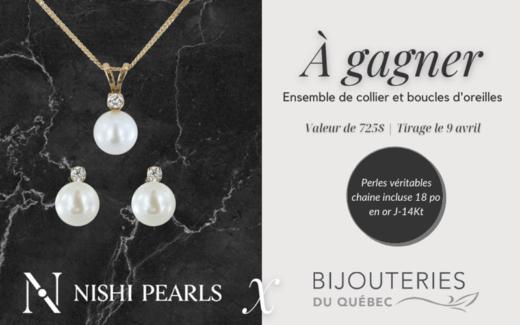 Un collier et des boucles d'oreilles avec perles