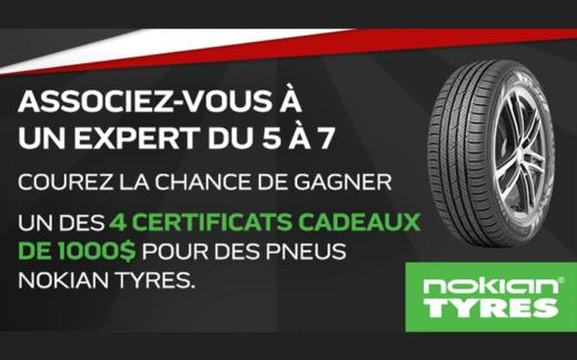 4 certificats-cadeaux de 1000 $ pour des pneus Nokian Tyres