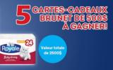 5 cartes-cadeaux Brunet de 500$ chacune