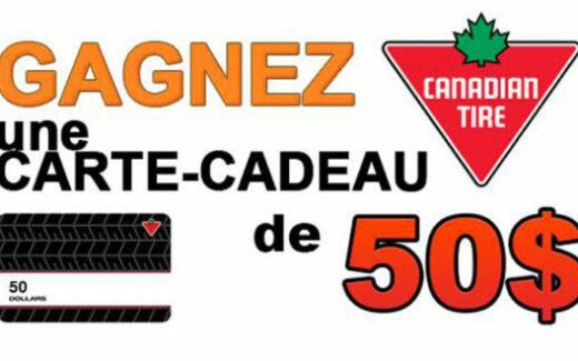 Carte cadeau Canadian Tire de 50$