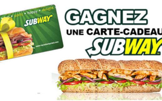 Carte cadeau Subway de 50$