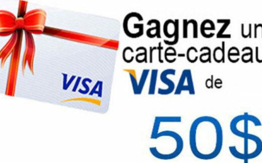 Carte cadeau Visa de 50$