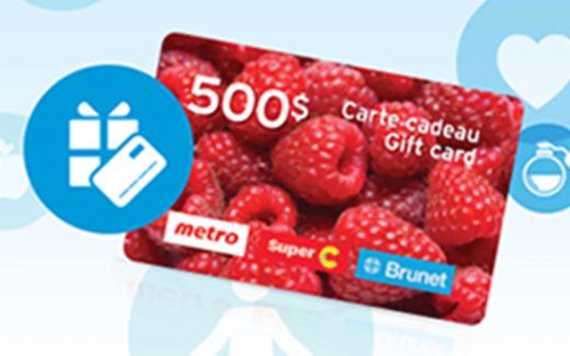 Cartes cadeaux Metro – Super C et Brunet de 500 $