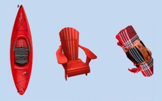 Un kayak – 2 chaises Muskoka – Paniers de pique nique