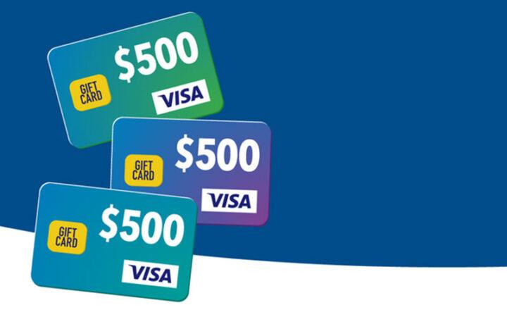 3 cartes Visa d'une valeur de 500 $