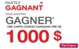 4 cartes-cadeaux Canadian Tire de 1000 $