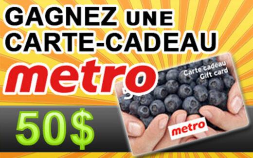 20 cartes cadeau d'épicerie Metro de 50$ chacune