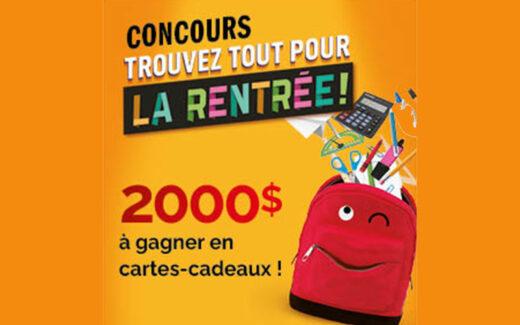 2000 $ en cartes cadeaux Jean Coutu