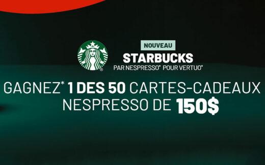 50 cartes cadeaux Nespresso de 150$