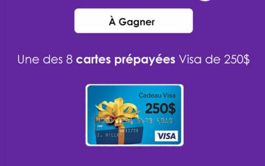 8 cartes Visa prépayées de 250$ chacune