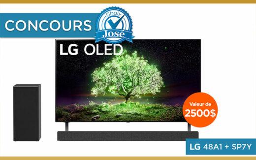 Un téléviseur & une barre de son LG (2500 $)